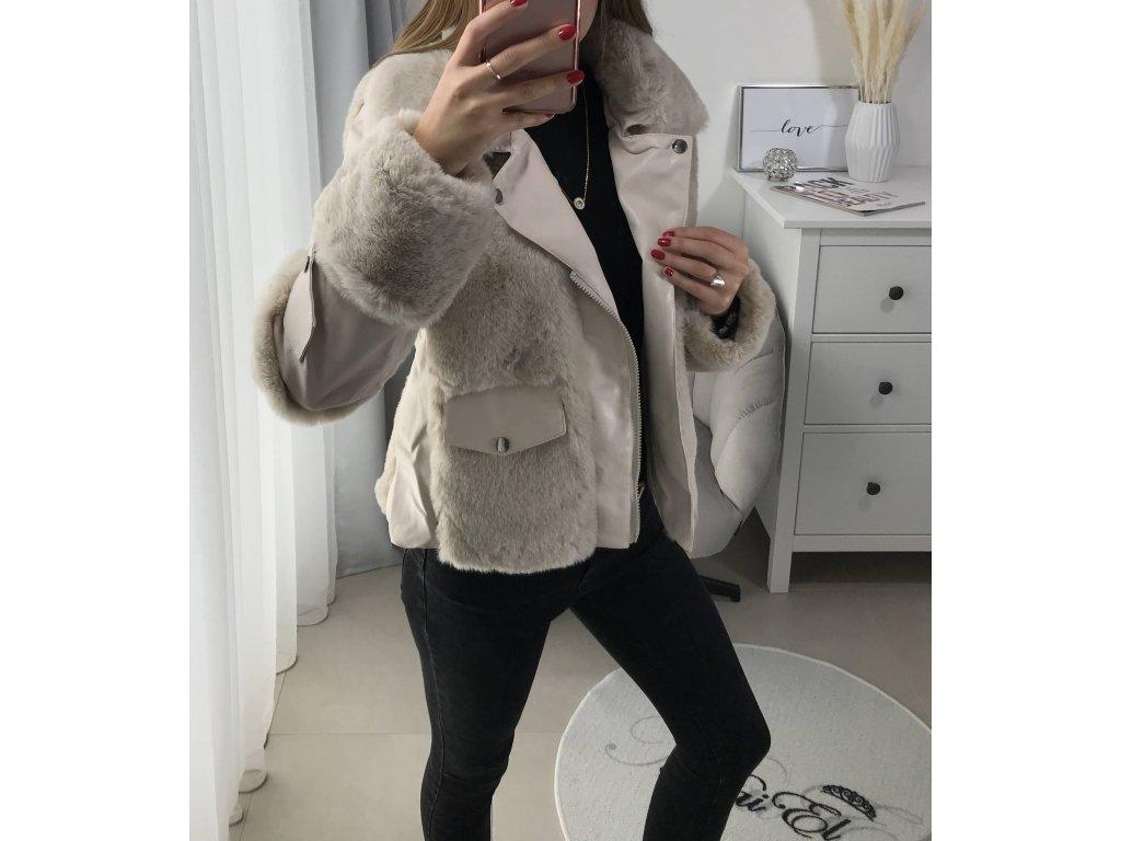 Kožešinová bunda - béžová
