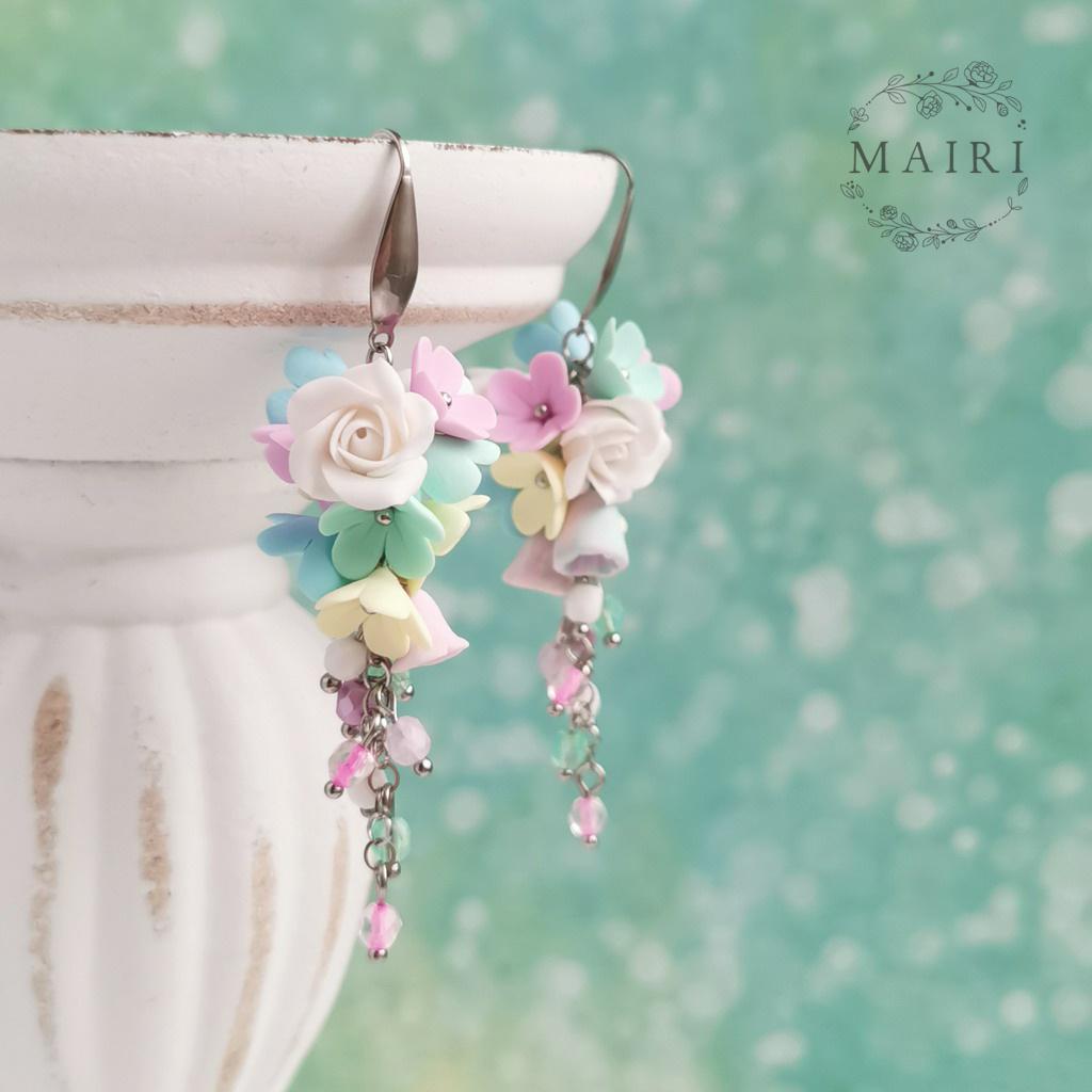 Mairi květinkové jarní pastelové náušnice s růží