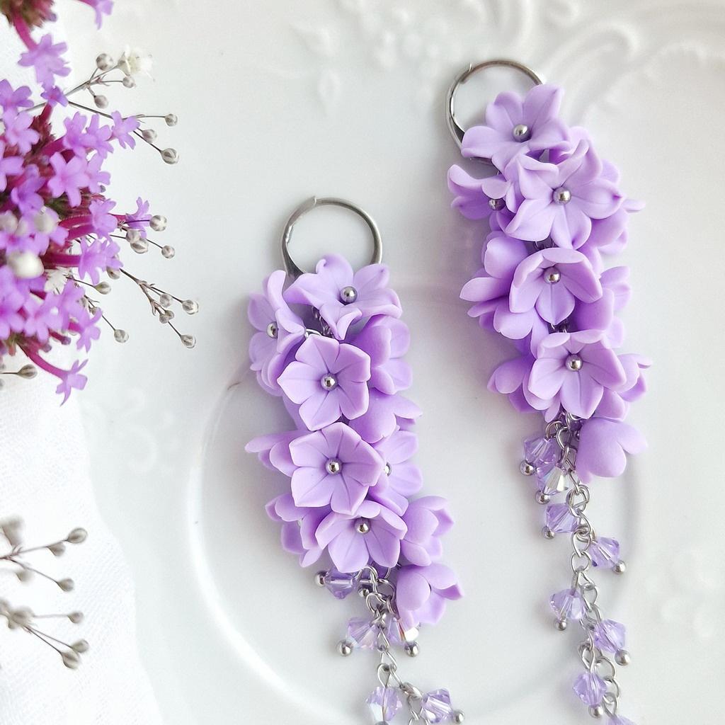 Mairi šeříkové lila dlouhé náušnice 5