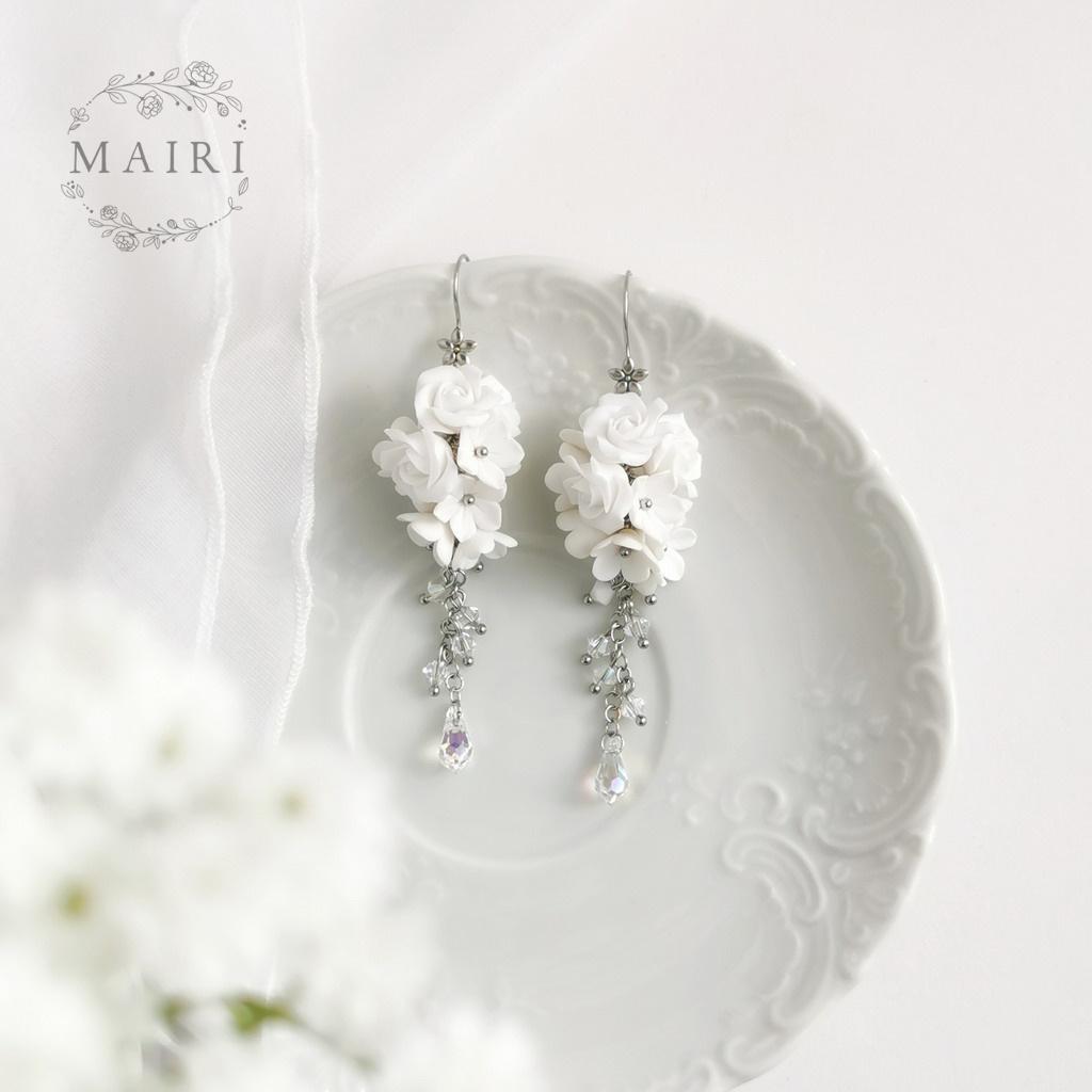 Mairi svatební květinové náušnice Gema II