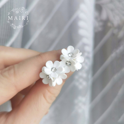 Mairi svatební náušnice s květinkami a krystaly 01