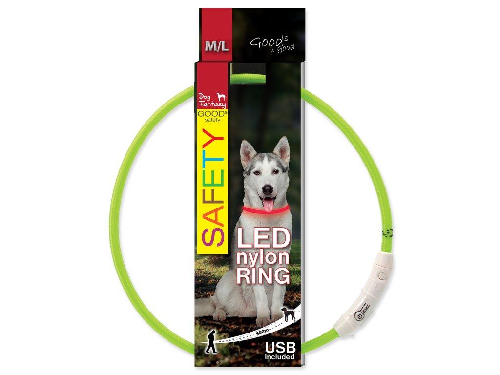 4868 2 obojek dog fantasy led nylonovy zeleny 65 cm