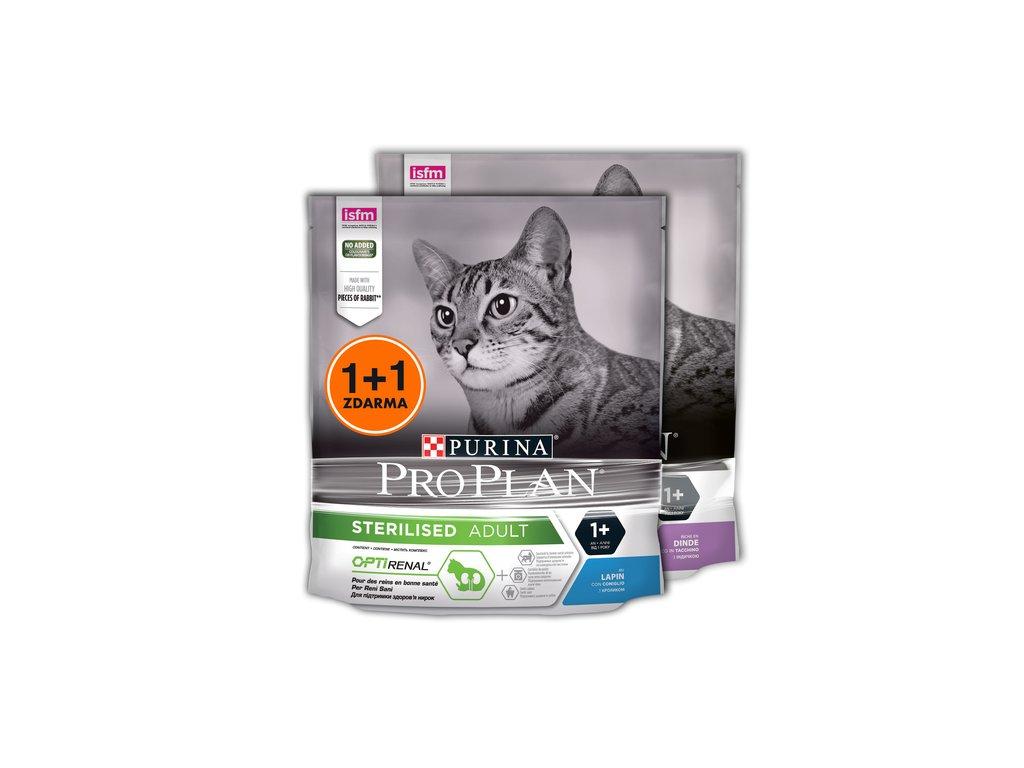 PRO PLAN CAT STERILISED krůta 400 g + králík 400 g 1+1 ZDARMA