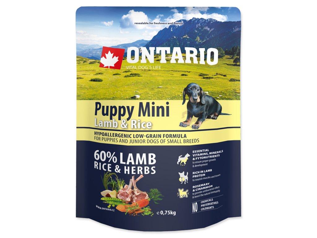 1088 ontario puppy mini lamb rice 0 75 kg