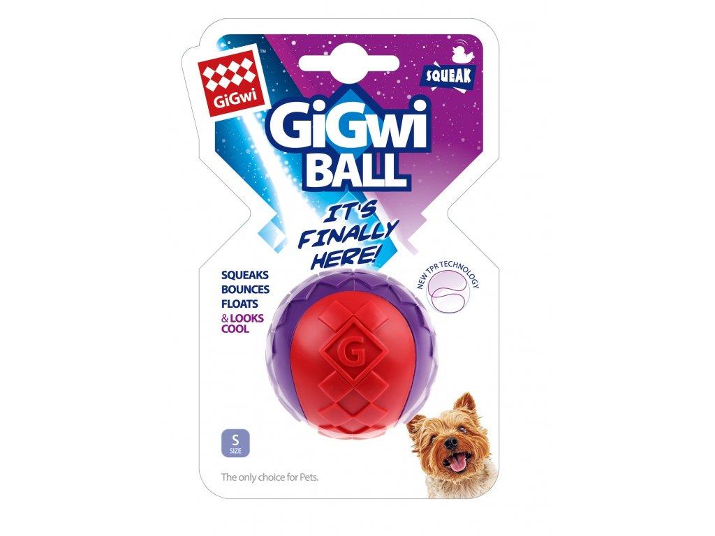 GiGwi míček pískací velikost S červeno purpurový