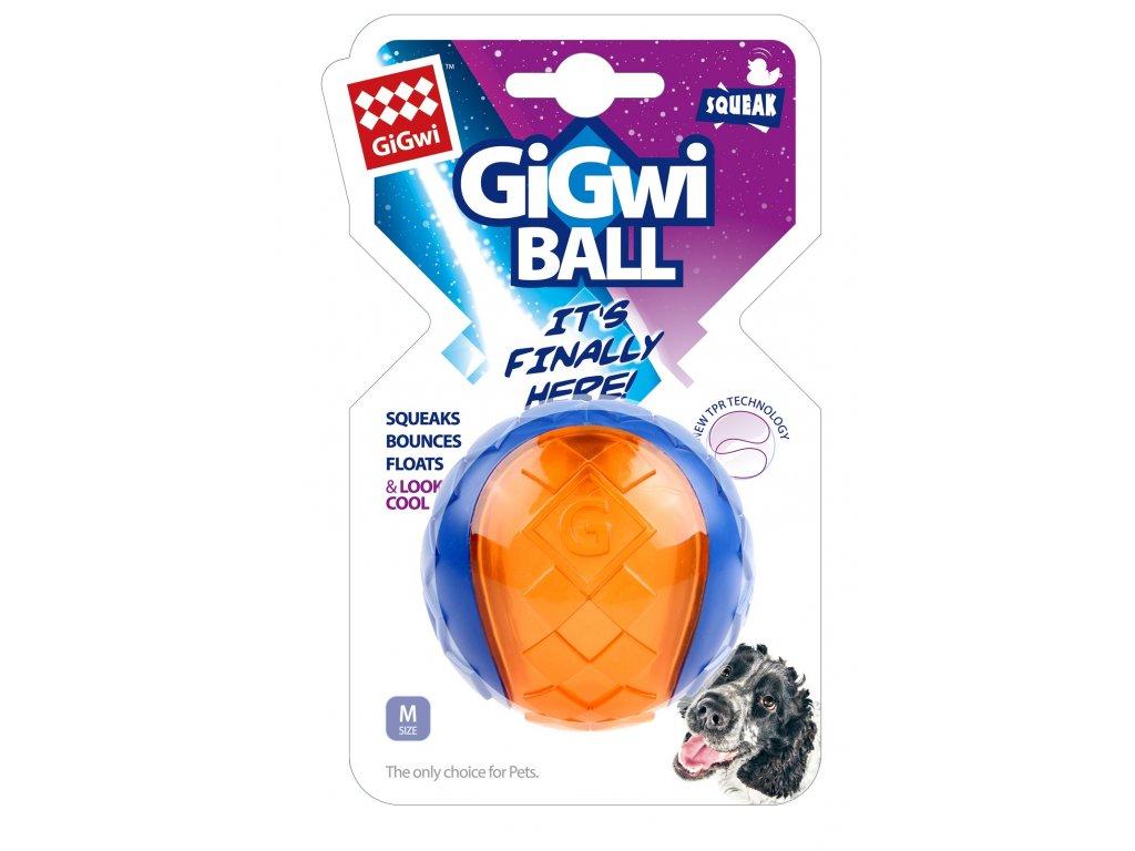 GiGwi Ball míček transparentní velikost M modro oranžový