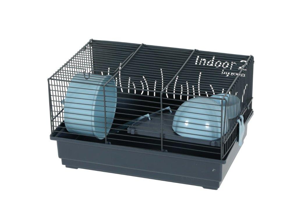 Klec křeček Indoor 2 50 cm modrá šedá s výbavou