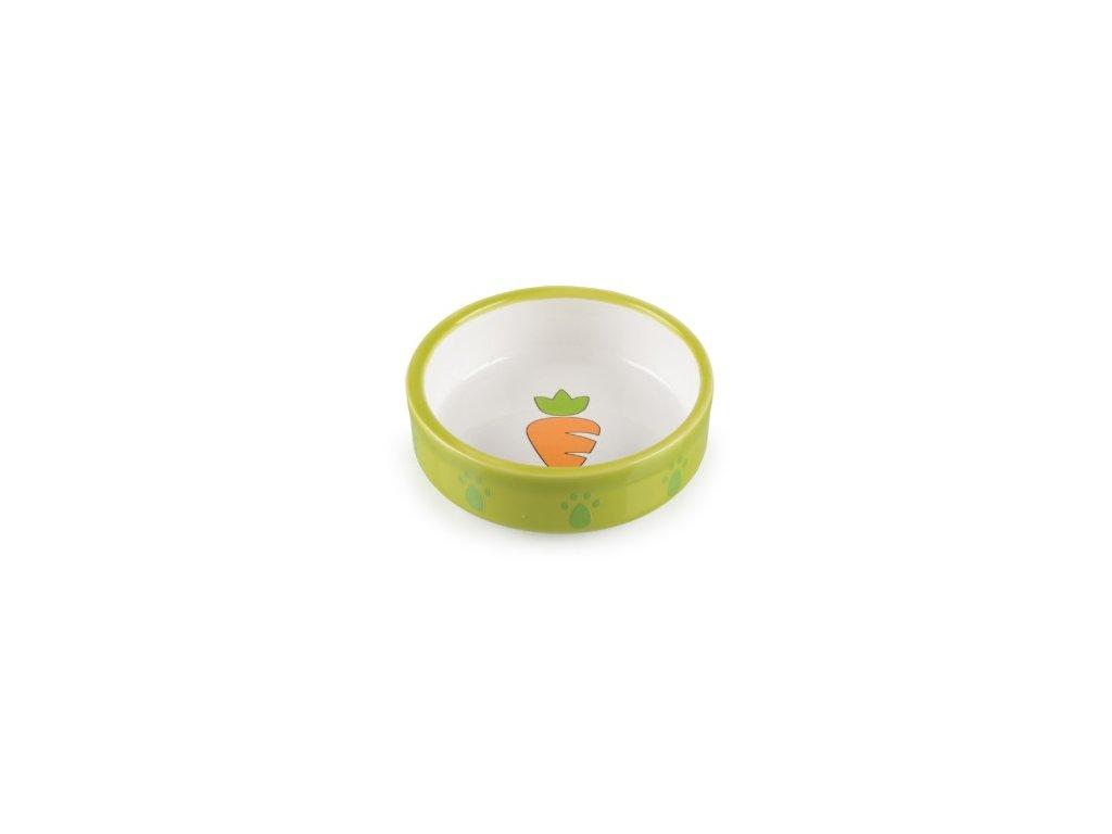Keramická miska pro křečky zeleno bílá mrkvička