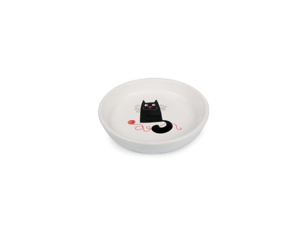Keramický talířek bílý, kočka s klubkem