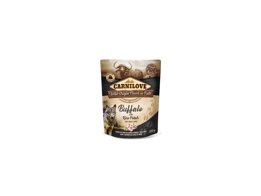 6977 carnilove dog pouch pate buffalo rose petals 300 g