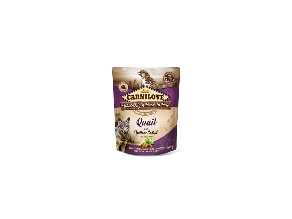 6980 carnilove dog pouch pate quail yellow carrot 300 g