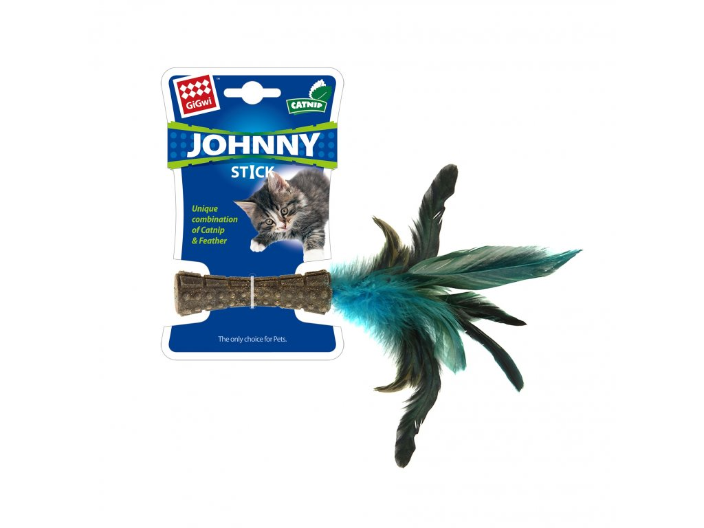 GiGwi Johnny Stick Catnip s modrými peříčky