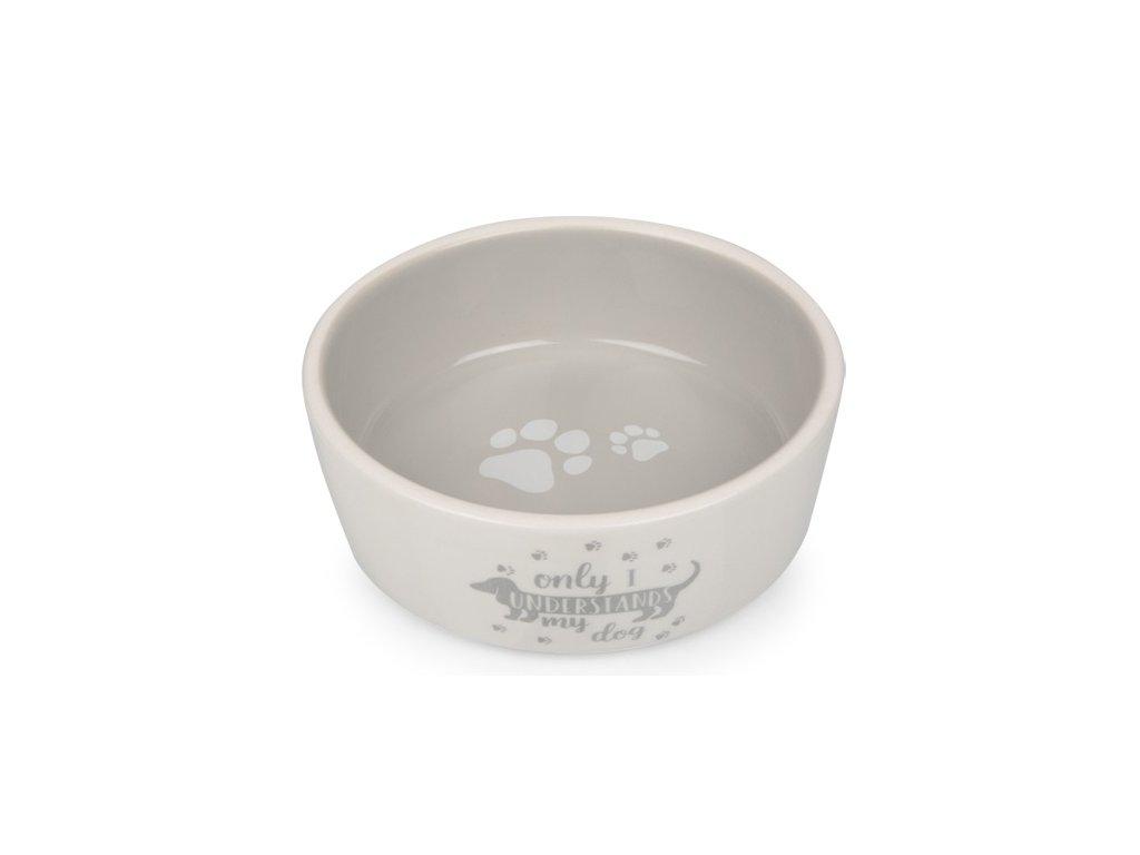 Keramická miska pro psy bílo;šedá s jezevčíkem 13,8 cm