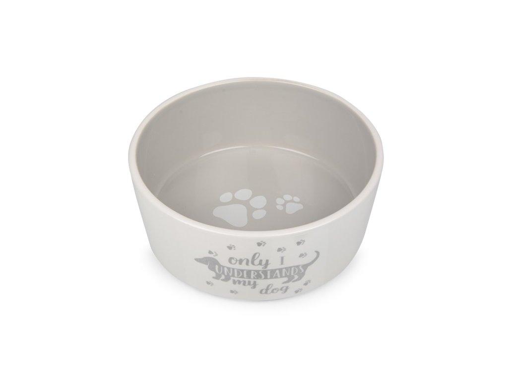 Keramická miska pro psy bílo;šedá s jezevčíkem 18,3 cm
