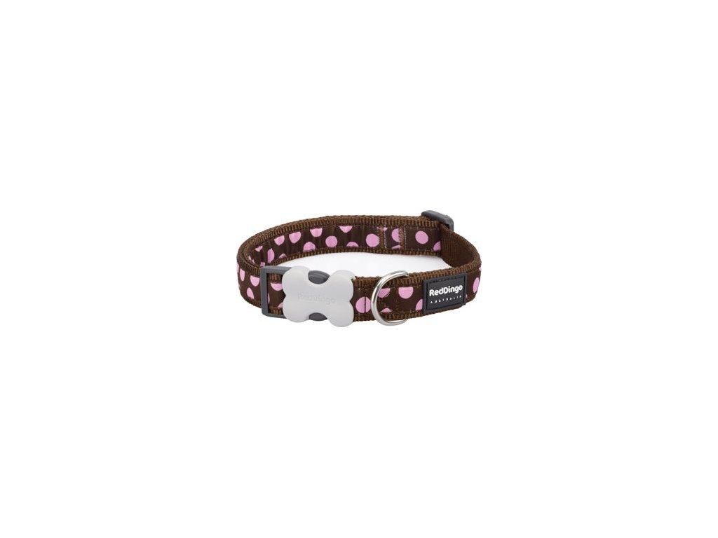 Obojek RED DINGO - Pink Spots on Brown (Velikost 25 mm)