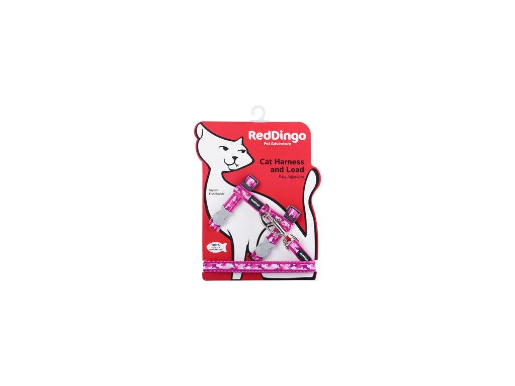 2066 1 postroj red dingo s voditkem pro kocky camouflage hot pink
