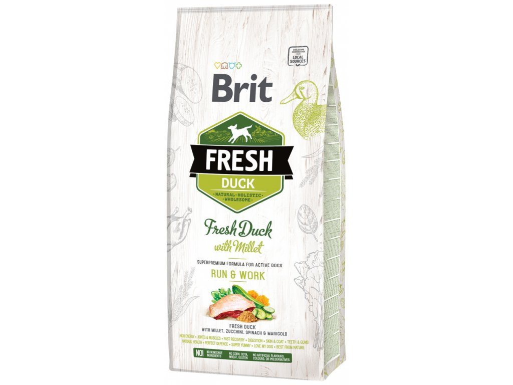 3845 1 brit fresh duck with millet adult run work 12 kg