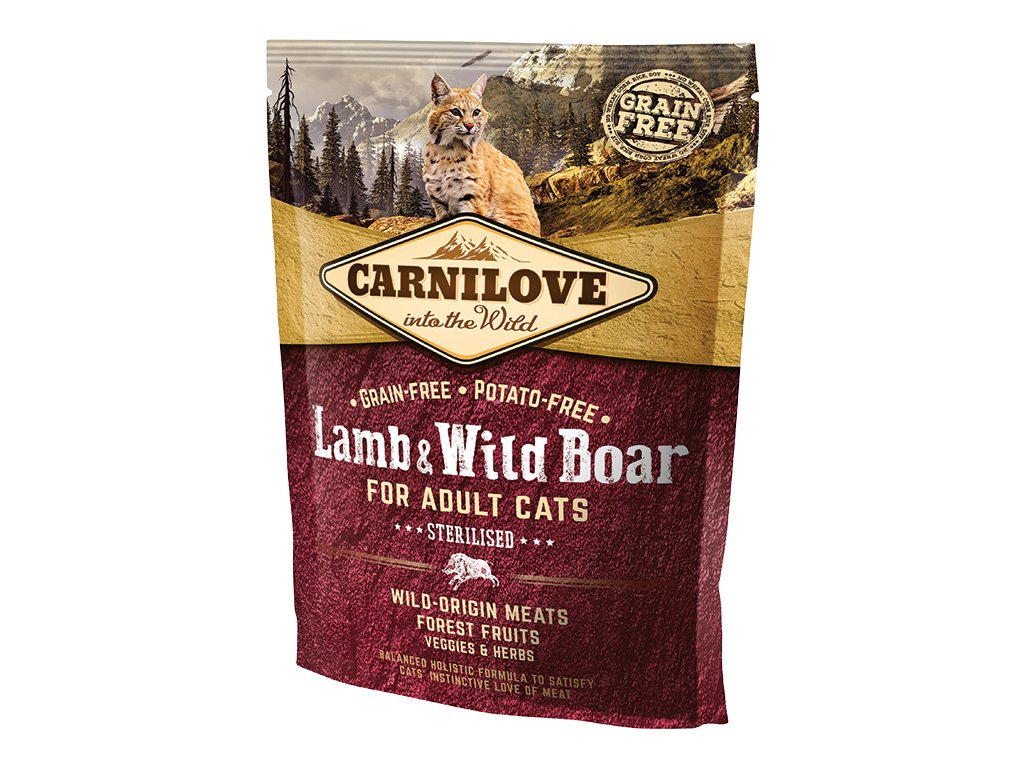 794 1 carnilove cat lamb wild boar for adult cats sterilised 400 g