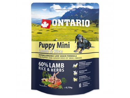 1088 ontario puppy mini lamb rice 0 75 kg