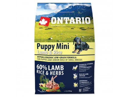 1091 ontario puppy mini lamb rice 2 25 kg