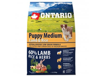 1100 ontario puppy medium lamb rice 2 25 kg