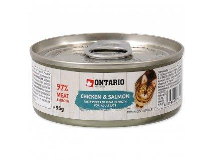 Konzerva Ontario Chicken Pieces + Salmon 95 g