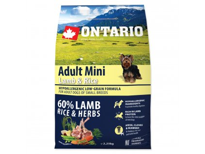 1118 ontario adult mini lamb rice 2 25 kg