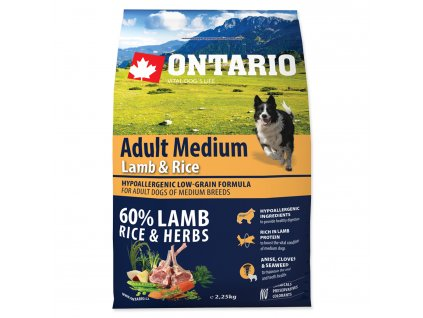 1136 ontario adult medium lamb rice 2 25 kg