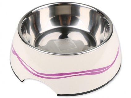 Miska DOG FANTASY nerezová kulatá purpurové vlnky 27 cm