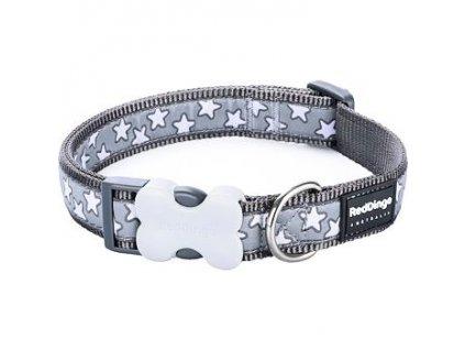 Obojek Red Dingo Stars White on Grey