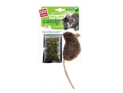 GiGwi Catnip myška se 3 vyměnitelnými sáčky