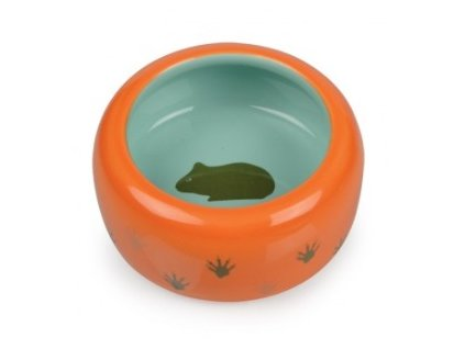 Keramická miska pro hlodavce oranžovo tyrkysová tlapka