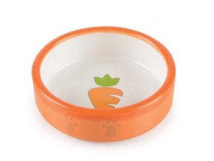 Keramická miska pro křečky oranžovo bílá mrkvička