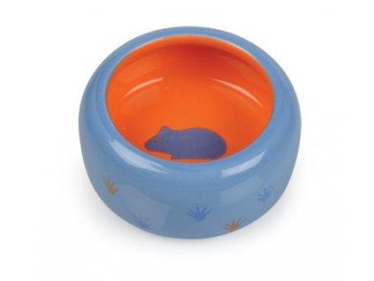 Keramická miska pro hlodavce modro oranžová tlapka