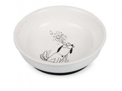 Keramický talířek bílý s pejskem, protiskluzový