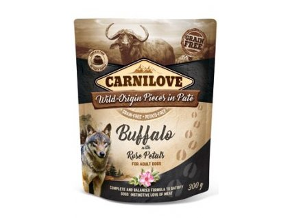 6977 carnilove dog pouch pate buffalo rose petals 300 g