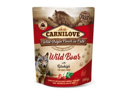6986 carnilove dog pouch pate wild boar rosehips 300 g
