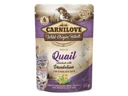 6998 carnilove cat pouch quail dandelion sterilized 85 g