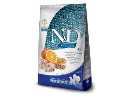 N&D OCEAN DOG Low Grain Adult M;L Codfish & Orange 12 kg