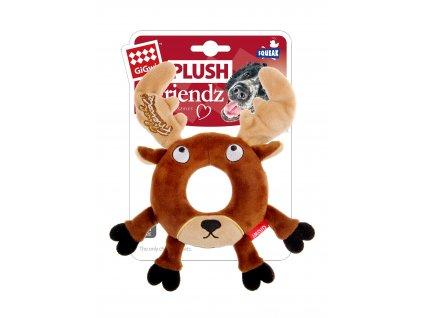 GiGwi Plush Friendz sob s gumovým kroužkem