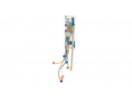 Dřevěná vábnička AFP Whisker Fiesta s hračkou z umělého lýka se šantou
