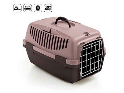 Přepravka pro psy a kočky Gulliver 1 s kovovou mřížkou růžovo béžová