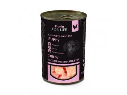FITMIN For Life monoproteinová kuřecí konzerva pro štěňata 400 g