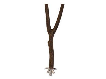 Přírodní dřevěné bidýlko s motýlkovou matkou pro snadné připevnění do klece.