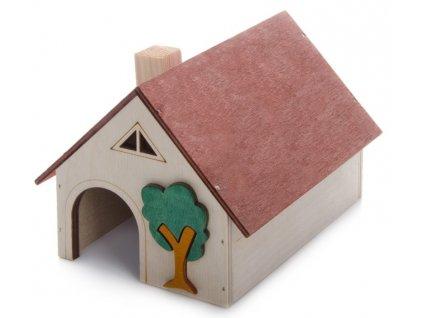 Domek křeček velký, dřevěný domek pro hlodavce