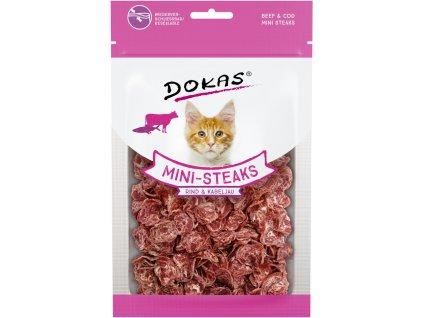 Dokas Hovězí a treska mini steaky pro kočky 25 g