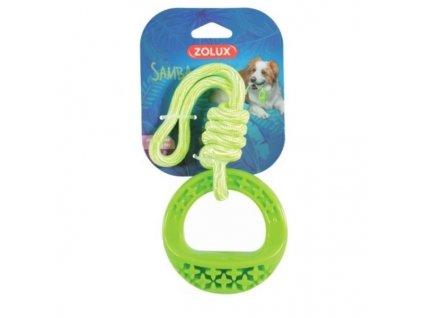 Hračka pes TPR SAMBA kroužek s lanem zelená Zolux