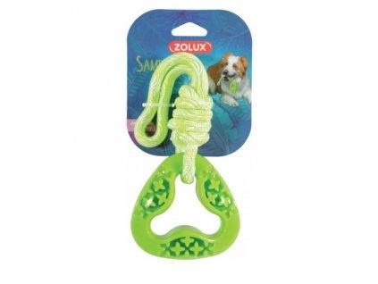 Hračka pes TPR SAMBA trojúhelník s lanem zelená Zolux