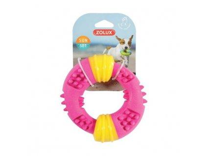 Hračka pes TPR SUNSET kroužek 15cm růžová Zolux