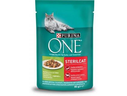 Purina ONE Sterilcat mini filetky s krůtou a zelenými fazolkami ve šťávě 85 g